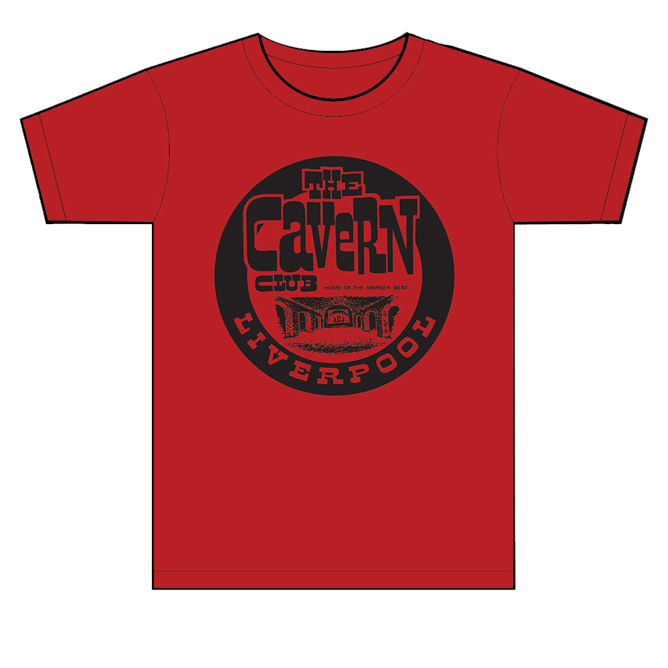 Men 39 s cavern club red vintage logo t shirt cavern club for Old logo t shirts
